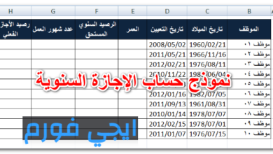 نموذج حساب الإجازة السنوية